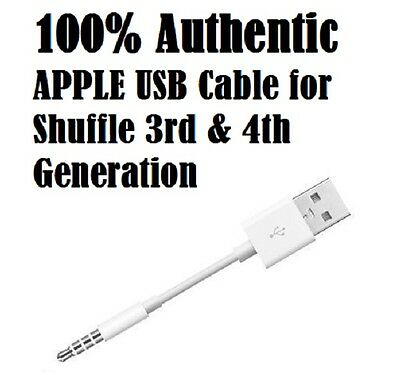 New Authentic iPod Shuffle USB Data Sync Charger Cable Cord 3rd & 4th Gen