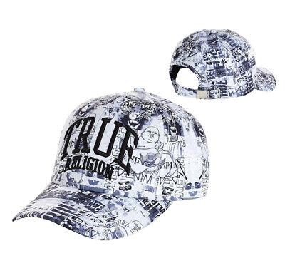 True Religion Men's Graffiti Patterned Logo Baseball Cap Sports Strapback Hat
