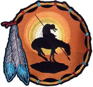 End-Of-The-Trail-Indian-Horse-Warrior-Embroidered-Biker-MC-BACK-Patch-LRG-0029