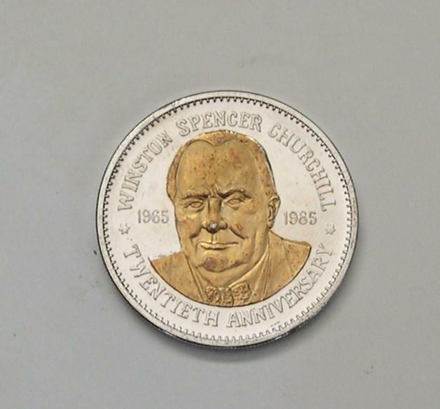 Winston Churchill Twentieth Anniversary (1965-1985) Silver/Gold Token