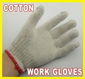 1-2-dozen-6-Pairs-White-Cotton-Knit-WORK-GLOVES-new-long-18-cm-7-inch-approx