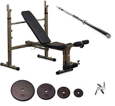 Weight bench & plate set bar package Adjustable Folding Body-Solid Best