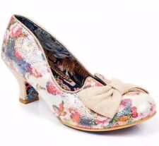 IRREGULAR CHOICE DAZZLE RAZZLE CREAM BOW FLORAL VINTAGE COURT SHOES SIZES 3-8 UK