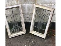 Stain glass windows one has crack in glass plain look great design