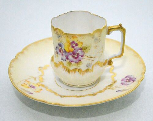 Elite Limoges France Antique Flowers Gold Accented Demitasse Cup Saucer Set