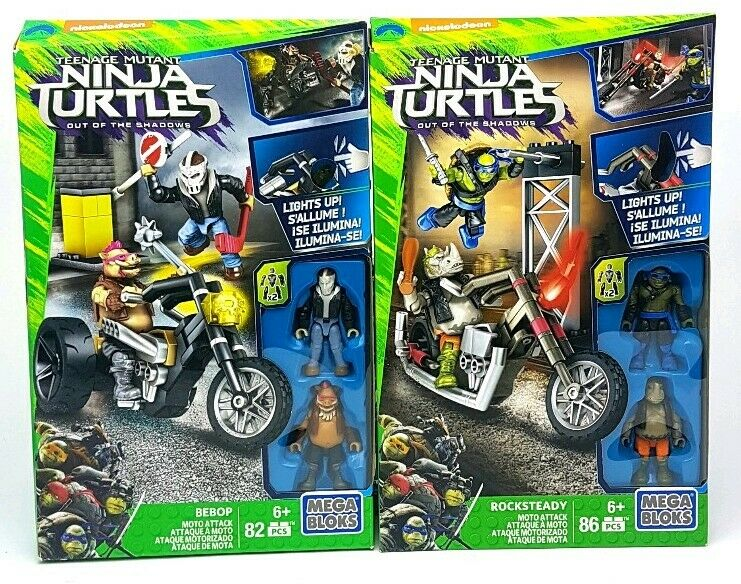 New ROCKSTEADY & BEBOP MEGA BLOKS MOTO ATTACK Teenage Mutant Ninja Turtles Sets