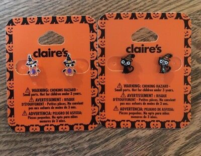 Claires Halloween Orange Owl Black Cat Earrings Witch Hat Cute
