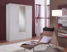 EXPRESS DELIVERY== BRAND NEW 3 DOOR OSAKA WARDROBE IN WHITE AND WALNUT WITH MIRROR