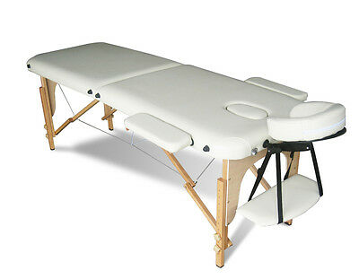 Beige Portable Massage Table Bed Beauty Therapy Couch 2 Section Wood + Cover Bag