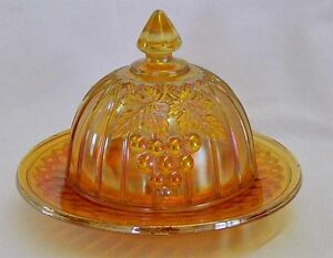 "Collectible Carnival Glass ""Grape and Gothic Arches"" Butter Dish"
