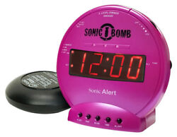 Sonic Bomb Loud Dual Alarm Clock with Vibrating Bed Shaker (Pink) SBB500SSP