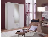 CHOICE OF COLORS ***Genuine German Made Osaka 3 / 4 Door Wardrobe - Drawers And Mirror Call Now