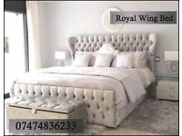 Wing bed with blanket box and mattress super king D