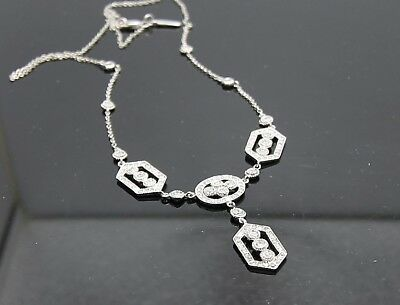 Vintage Look Clasic design 14 KT. WG Diamond Fashion Necklace about 1 CTW