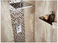 Grey Marble effect tiles, £7 sq yard (34 square yard available)