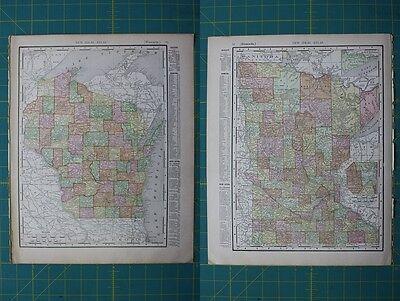 Wisconsin Minnesota Vintage Original 1910 Rand McNally World Atlas Map Lot