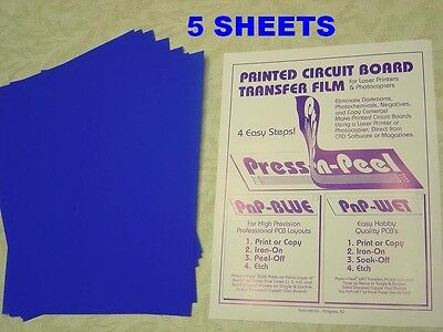Press-n-Peel Blue PCB Transfer Paper Film Etch Circuit Boards Jewelry - 5 Sheets