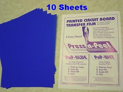 10 Sheets Press-n-peel Blue Pcb Transfer Paper Film Etch Printed Circuit Boards