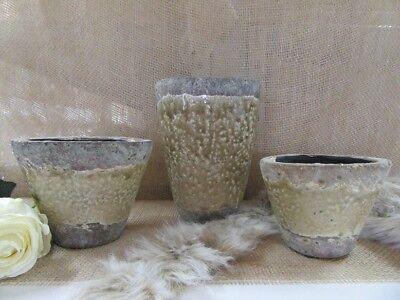 Pflanzgefäß/Vase  ca. 20 cm hoch, beige-braun  in CRAQUELÈE-Optik Shabby