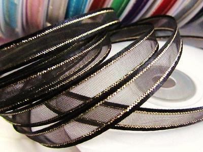 """25 yards Spool/Roll 3/8"""" Organza Ribbon Gold Edged Trim/Wedding/Favors R11-Black"""