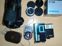 CHINON CG-5 SLR 35mm Camera Body, Lenses, Flash, Light Meter and Accessories