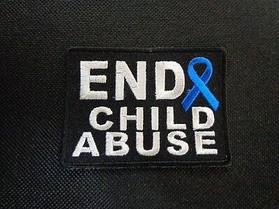 END CHILD ABUSE AWARENESS RIBBON EMBROIDERED PATCH (Child Abuse Awareness Ribbon)