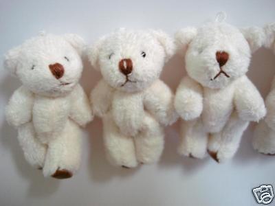 10 Craft Mini Teddy Bear 4cm Applique/cute doll/Party Favors/kid/baby H139-White 4' White Teddy Bear