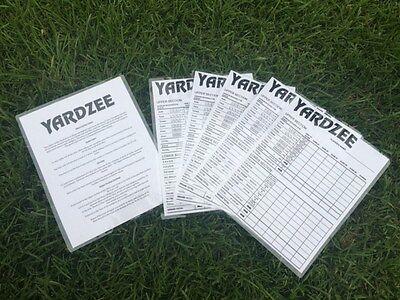 Yardzee laminated score cards (10) + Rules, outdoor, backyard fun, family games