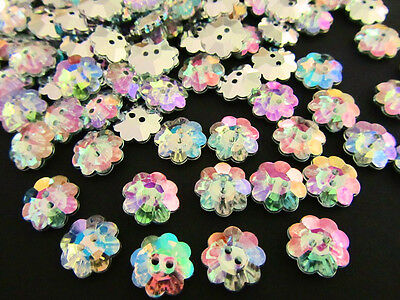 20 Flower Shape Acrylic Crystal AB Color Rhinestone 2 Hole Sewing Button - Flower Shape