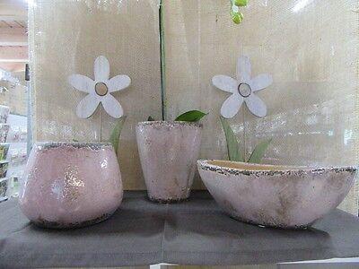 Pflanzgefäß ca. 11 cm hoch, altrosé,  Schale  in CRAQUELÈE-Optik Shabby