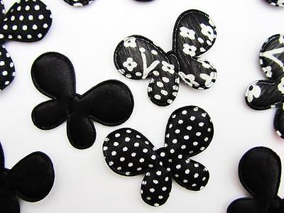 Black Butterfly Craft - 60 Black Polka Dot/Floral/Satin Fabric Butterfly 1.75