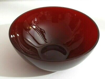 "GUCCI Ruby Red Glass Bowl Made in Italy 4 1/4"" Wide x 2"" High GUCCI Etched Label"