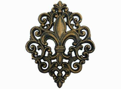 Cast Iron Fleur De Lis Wall Plaque, Metal Art, Old World, Tuscan, Kitchen -