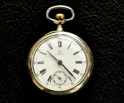 1917 ANTIQUE SMALL (35MM) SILVER OMEGA POCKET WATCH , FULLY SERVICED WW1