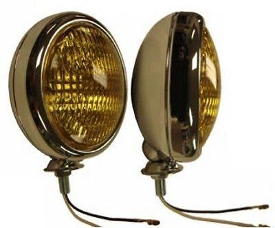 """12 Volt H3 Amber 5"""" Fog Lights Glass Lens Chrome Housings Cadillac Oldsmobile"""