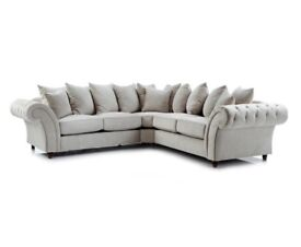 New Double Windsor Corner Sofa and Foot Stool – Stone Colour