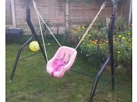 Baby girl pink swing