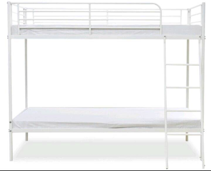 Bunk beds, white metal