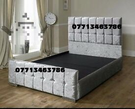 NEW 4'6 CUBED CRUSHED VELVET DIAMANTE BED FRAME