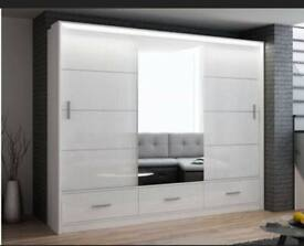FURNTIURE FOR LIFE-MARSYLIA WARDROBE IN BLACK WHITE AND GREY COLOR OPTIONS-LOT OF HANGING SPACE