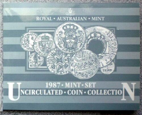 1987 AUSTRALIA - OFFICIAL BU MINT SET (7) - ORIGINAL RAM BOOKLET - BEAUTY!