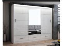 Marcylia wardrobe in 208cm/255cm | Black/white colour |