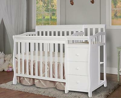 White Baby Crib & Changing Table Mini Convertible 4 in 1 Nursery Twin Furniture