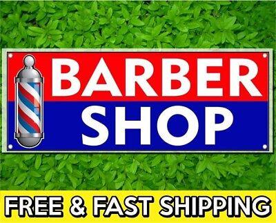 2 X 4 Ft Barber Shop 13oz Vinyl Sign Banner W Grommets Poles Hair Salon