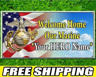 2' x 4' Welcome Home Our Marine CUSTOM NAME 13oz Vinyl Banner Full Color Printed