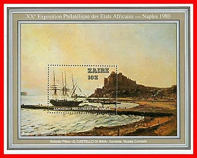 CONGO / ZAIRE 1980 STAMP SHOW / SHIP PAINTING S/S MNH