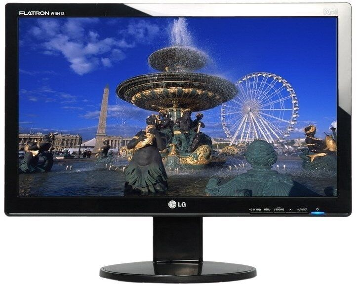 LG W1941S PF 19 inch TFT Monitor, 1366x768, 300cd/m2, 8000 1 (Dynamic16 9, VGA, Blackin Atherton, ManchesterGumtree - LG W1941S PF 19 inch TFT Monitor, 1366x768, 300cd/m2, 8000 1 (Dynamic), 16 9, VGA, Black Whether for playing games, surfing or watching movies, the LG W1941S PF LCD monitor is the best choice. With a resolution of 1366x766 pixels, this 19 inch LG...