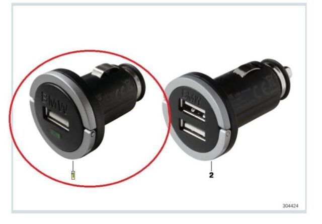 Genuine BMW Auxiliary Power Socket Single USB Charger PN:65412166411