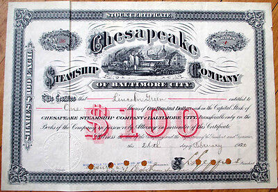 1920 Stock Certificate: 'Chesapeake Steamship Co.' - Baltimore City, Maryland MD