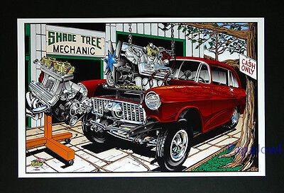 Hot Rod Drag Racing Art Print Poster 1955 Chevrolet 55 Chevy 11